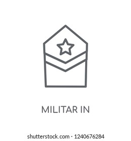 Militar Insignia linear icon. Modern outline Militar Insignia logo concept on white background from army and war collection. Suitable for use on web apps, mobile apps and print media.