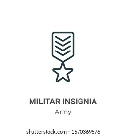 Militar insignia outline vector icon. Thin line black militar insignia icon, flat vector simple element illustration from editable army concept isolated on white background