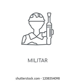 Militar linear icon. Militar concept stroke symbol design. Thin graphic elements vector illustration, outline pattern on a white background, eps 10.