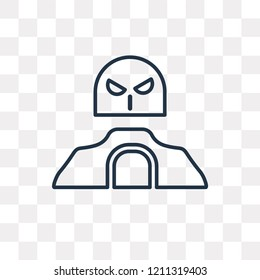 Militar man with protection equipment vector outline icon isolated on transparent background, high quality linear Militar man with protection equipment transparency concept can be used web and mobile