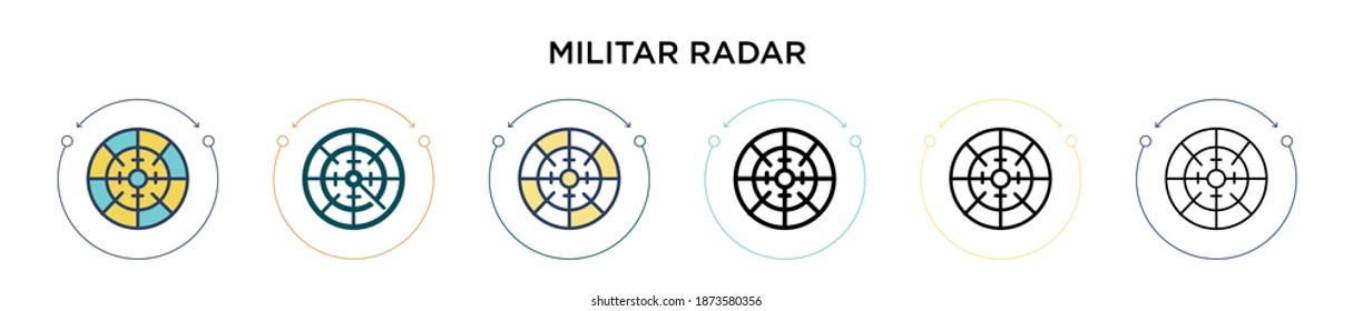 Militar radar icon in filled, thin line, outline and stroke style. Vector illustration of two colored and black militar radar vector icons designs can be used for mobile, ui, web