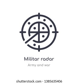 militar radar icon. isolated militar radar icon vector illustration from army and war collection. editable sing symbol can be use for web site and mobile app