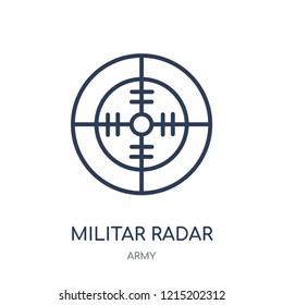 Militar Radar icon. Militar Radar linear symbol design from Army collection.
