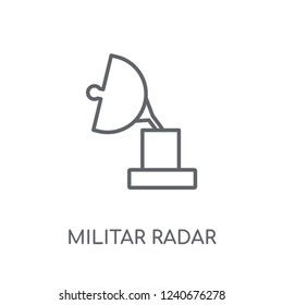 Militar Radar linear icon. Modern outline Militar Radar logo concept on white background from army and war collection. Suitable for use on web apps, mobile apps and print media.