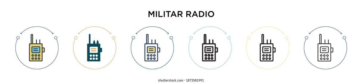 Militar radio icon in filled, thin line, outline and stroke style. Vector illustration of two colored and black militar radio vector icons designs can be used for mobile, ui, web