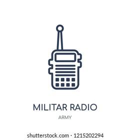 Militar Radio icon. Militar Radio linear symbol design from Army collection.