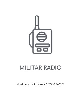 Militar Radio linear icon. Modern outline Militar Radio logo concept on white background from army and war collection. Suitable for use on web apps, mobile apps and print media.