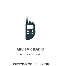 Militar radio vector icon on white background. Flat vector militar radio icon symbol sign from modern army and war collection for mobile concept and web apps design.
