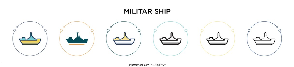 Militar ship icon in filled, thin line, outline and stroke style. Vector illustration of two colored and black militar ship vector icons designs can be used for mobile, ui, web