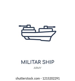 militar ship icon. militar ship linear symbol design from Army collection.