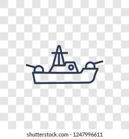 militar ship icon. Trendy linear militar ship logo concept on transparent background from army and war collection