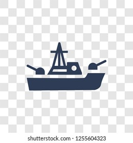 militar ship icon. Trendy militar ship logo concept on transparent background from army and war collection