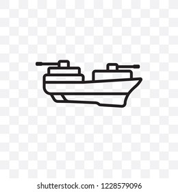 militar ship vector linear icon isolated on transparent background, militar ship transparency concept can be used for web and mobile