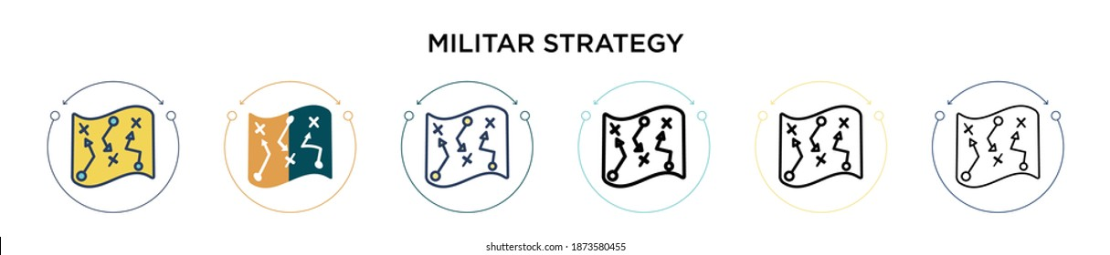 Militar strategy icon in filled, thin line, outline and stroke style. Vector illustration of two colored and black militar strategy vector icons designs can be used for mobile, ui, web