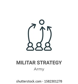 Militar strategy symbol of a person outline vector icon. Thin line black militar strategy symbol of a person icon, flat vector simple element illustration from editable army concept isolated on white