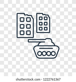 Militar tank in city street concept vector linear icon isolated on transparent background, Militar tank in city street concept transparency concept in outline style