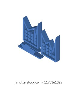 Militar tank in city street isometric left top view 3D icon