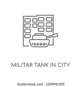Militar tank in city street linear icon. Militar tank in city street concept stroke symbol design. Thin graphic elements vector illustration, outline pattern on a white background, eps 10.