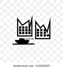 Militar tank in city street vector icon isolated on transparent background, Militar tank in city street logo concept