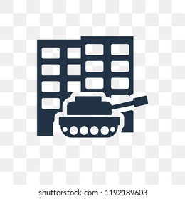 Militar tank in city street vector icon isolated on transparent background, Militar tank in city street transparency concept can be used web and mobile