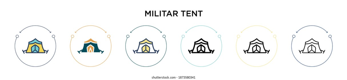 Militar tent icon in filled, thin line, outline and stroke style. Vector illustration of two colored and black militar tent vector icons designs can be used for mobile, ui, web
