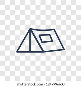 Militar Tent icon. Trendy linear Militar Tent logo concept on transparent background from army and war collection