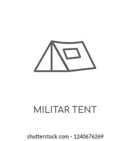 Militar Tent linear icon. Modern outline Militar Tent logo concept on white background from army and war collection. Suitable for use on web apps, mobile apps and print media.