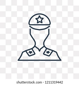 Militar vector outline icon isolated on transparent background, high quality linear Militar transparency concept can be used web and mobile