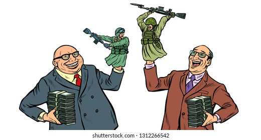 militarism and war concept isolate on white background. Businessmen laughing soldiers fighting. Pop art retro vector illustration kitsch vintage