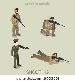 Military aiming shooting people in uniform flat isometric 3d game avatar user profile icon vector set. Soldier SWAT officer sniper special operation unit. Build your own world web collection.