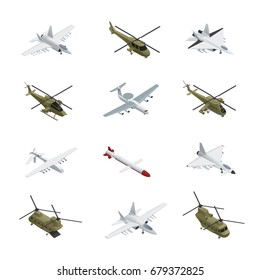 Military air force isometric icon set airplanes and helicopters with different types colors sizes and purposes