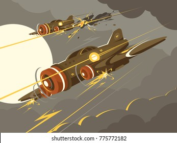 Military aircraft in air combat. Attacking plane in sky. Vector illustration