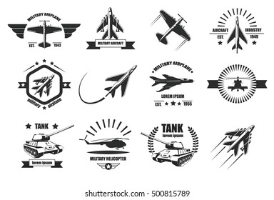 Military aircraft, helicopter and tank icons, badges and logotypes.Vector military aircraft isolated on white background. Vintage Airplane Labels Set with Retro Typography.