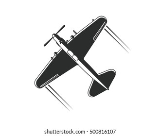 Military aircraft Il-2. Vector military airplane silhouette isolated on white background.