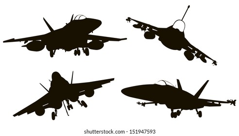 Military aircraft  silhouettes  collection. Vector EPS 8
