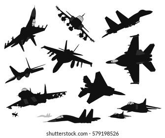 Military aircraft silhouettes collection. Vector