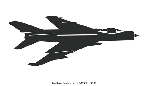 Military airplane Su - 7. Vector military aircraft  silhouette isolated on white background.