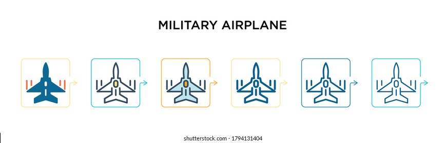 Military airplane vector icon in 6 different modern styles. Black, two colored military airplane icons designed in filled, outline, line and stroke style. Vector illustration can be used for web,