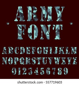 Military alphabet font. Army stencil lettering with camouflage background. - stock vector.