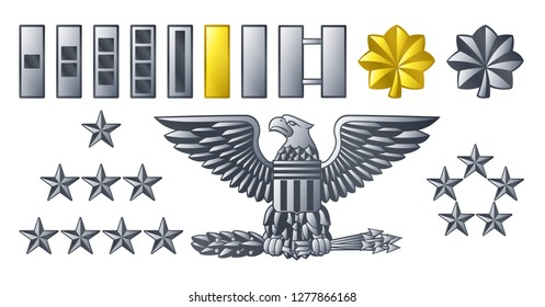 Military American army officer ranks insignia badges icons