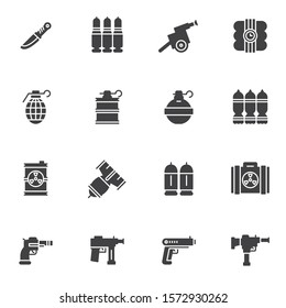 Military ammunition vector icons set, modern solid symbol collection, filled style pictogram pack. Signs, logo illustration. Set includes icons as combat knife, grenade, nuclear bomb, pistol, weapon