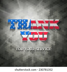 Military appreciation sign, Thank you for your service, on woodland camouflage background