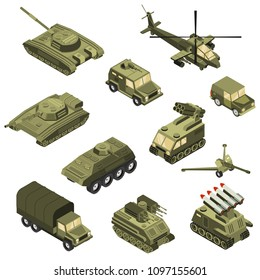 Military armored transportation cargo personnel carrier fighting land vehicles and helicopter isometric icons collection isolated vector illustration