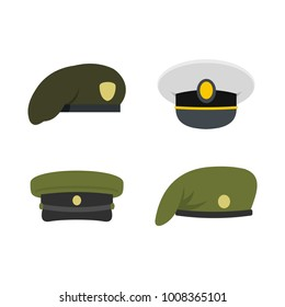 Military army beret icon set. Flat set of military soldier beret vector icons for web design isolated on white background