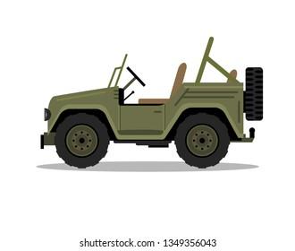 Military army car vehicle. Humvee vector cartoon flat safari offroad truck illustration.