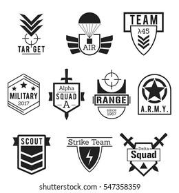 Military Army like Badges Logos Black Vector Set