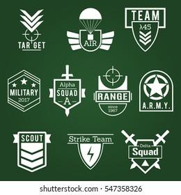 Military Army like Badges White Logos Set