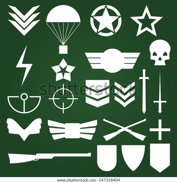 Military Army Like Symbols White Vectors Stock Vector (Royalty Free