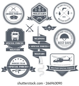 military army set label template of emblem element for your product or design, web and mobile applications with text. Vector illustration with thin lines isolated icons on stamp symbol.