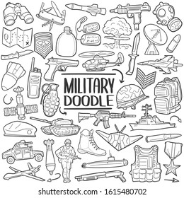 Military Army Soldier. War Vehicles and Weapons Marine. Traditional Doodle Drawn Sketch Hand Made Design Vector.